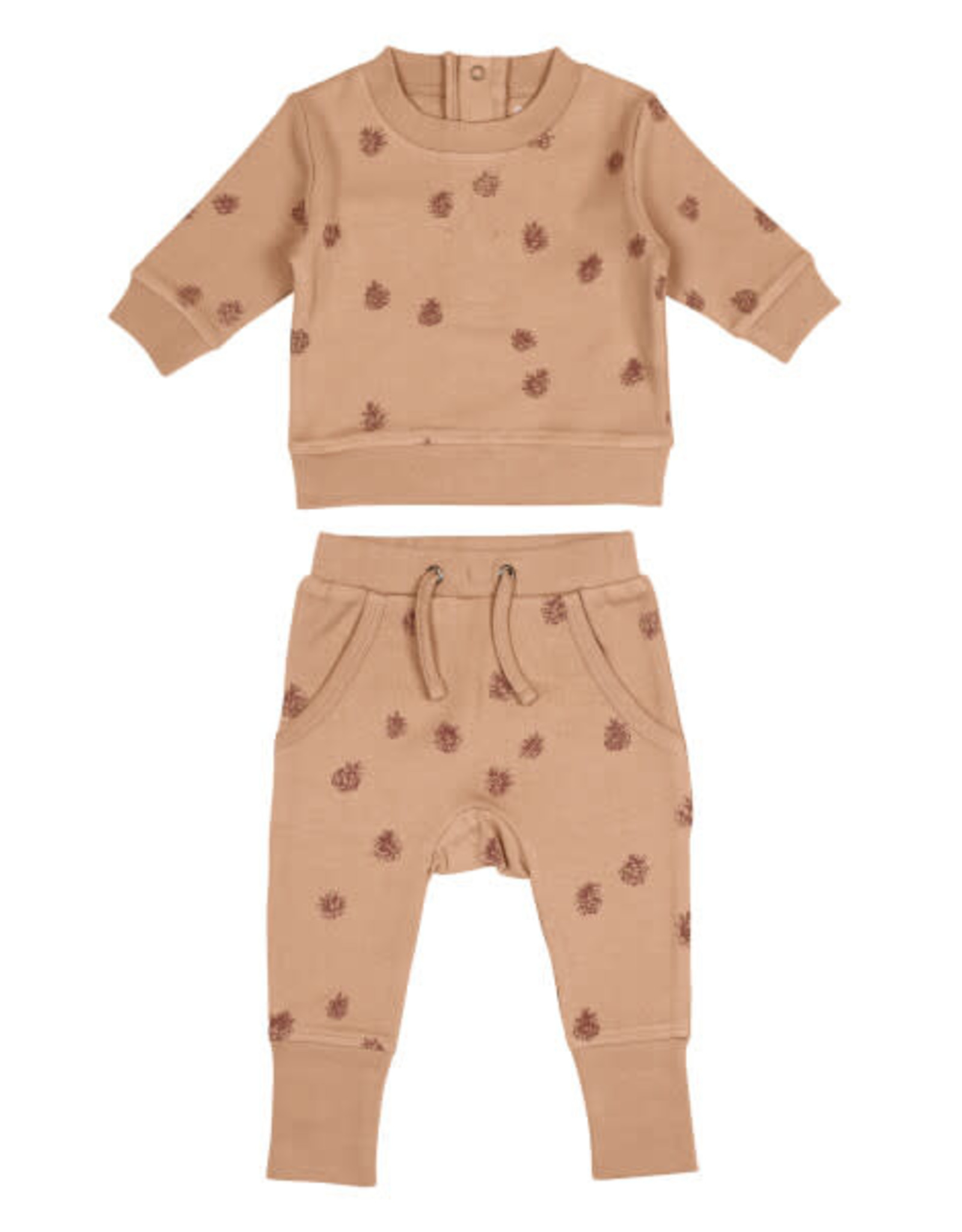 L'oved Baby Baby Nutmeg Sweatshirt & Jogger Set with Pinecone Print