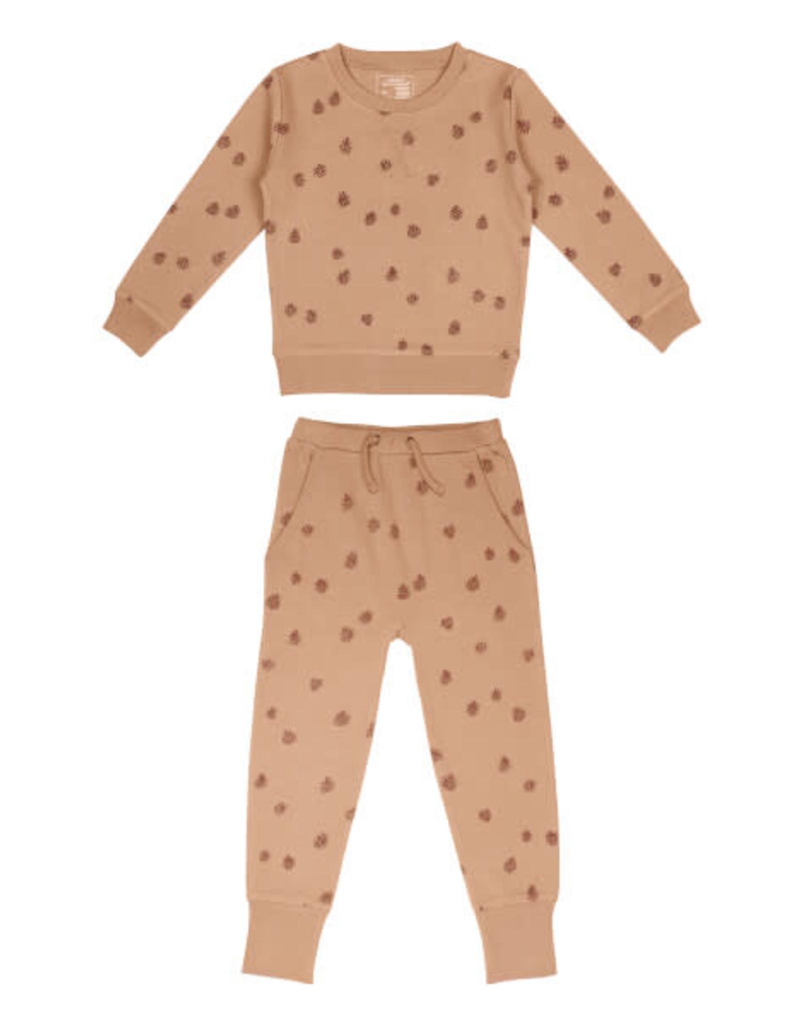 L'oved Baby Kids Nutmeg Sweatshirt & Jogger Set with Pinecone Print