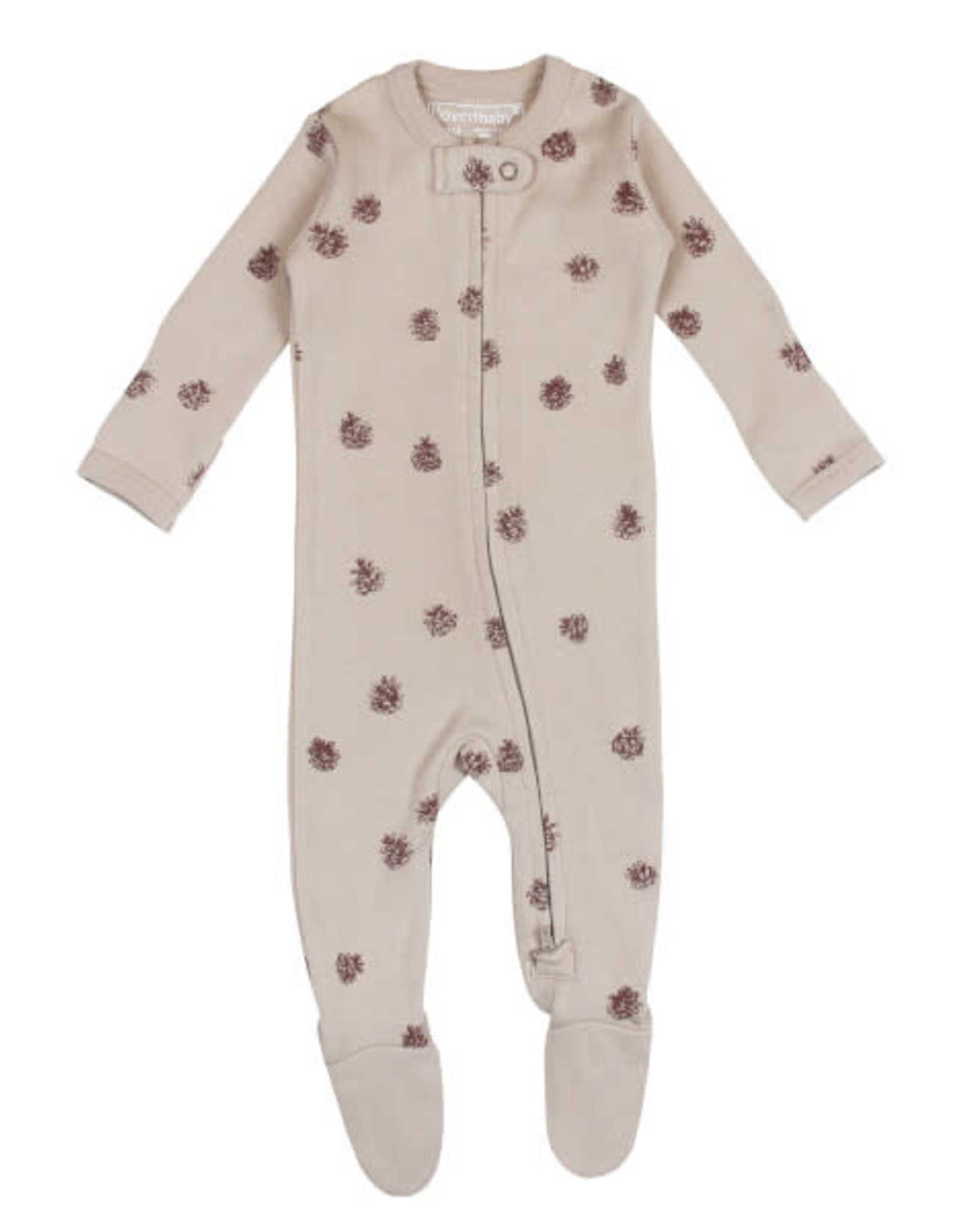 L'oved Baby Oatmeal Zippered Footie with Pinecone Print