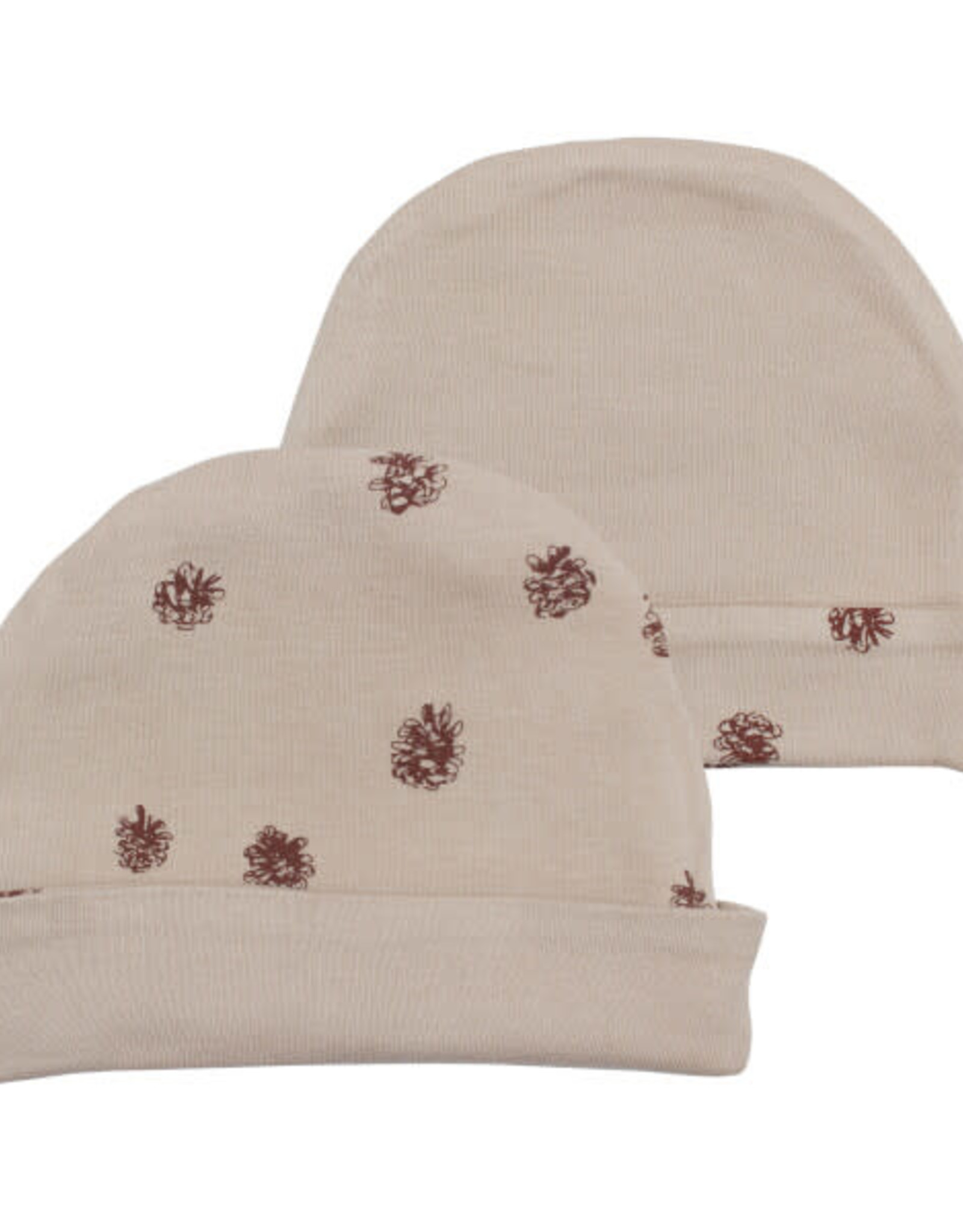 L'oved Baby Oatmeal Reversible Beanie with Pinecone Print