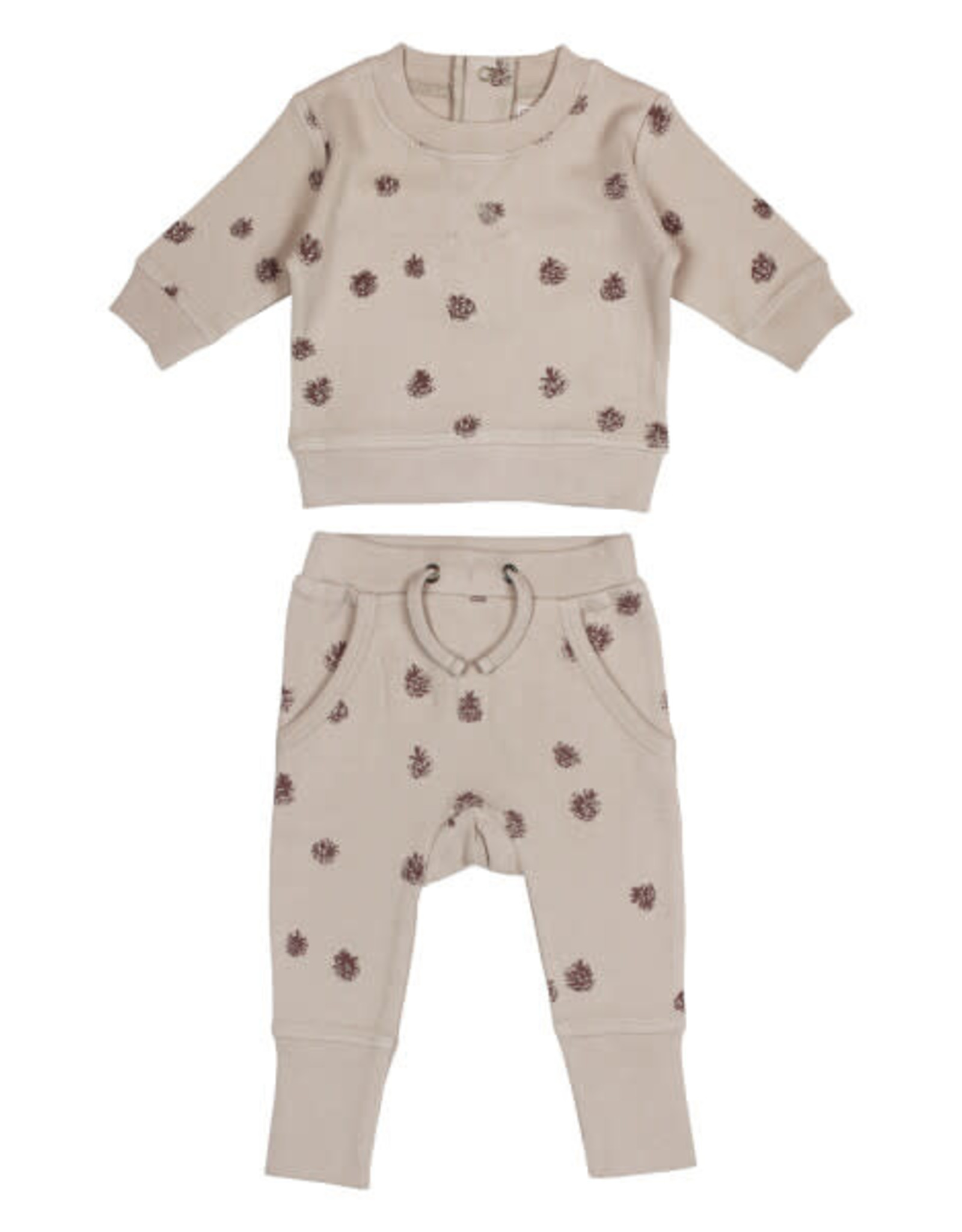 L'oved Baby Baby Oatmeal Sweatshirt & Jogger Set with Pinecone Print