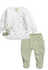 Tiny Twig White & Sage Knitted Kimono Set