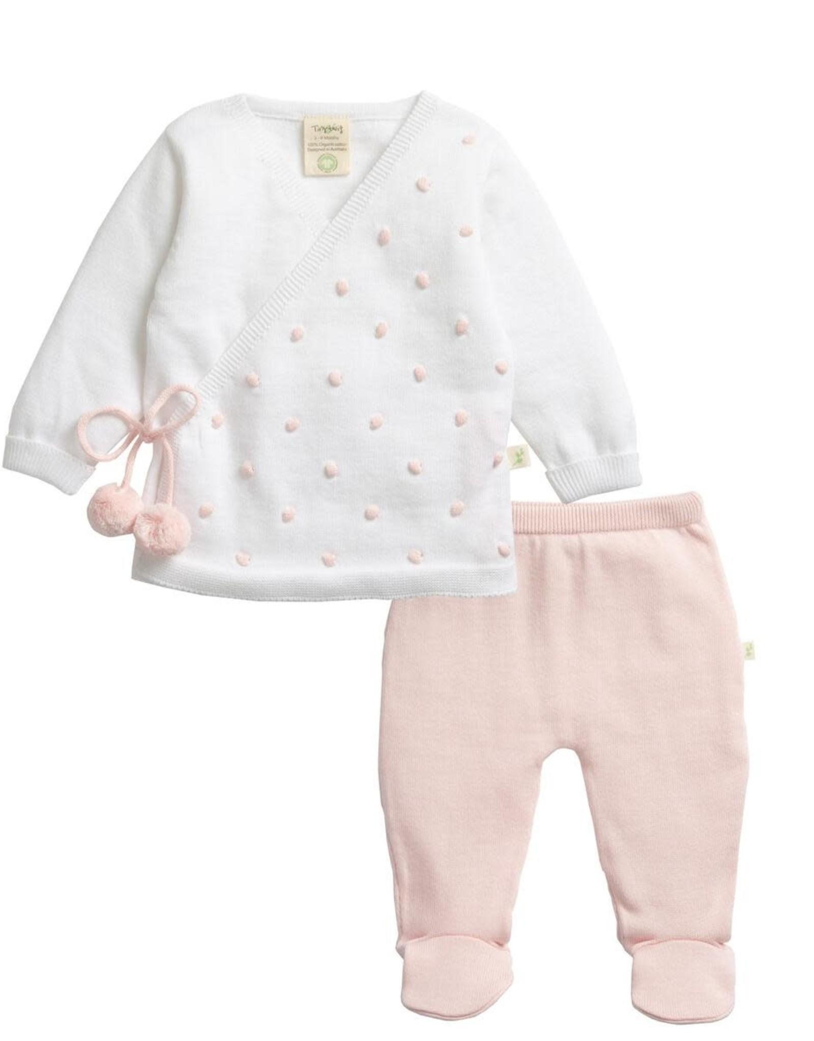 Tiny Twig White & Soft Pink Knitted Kimono Set