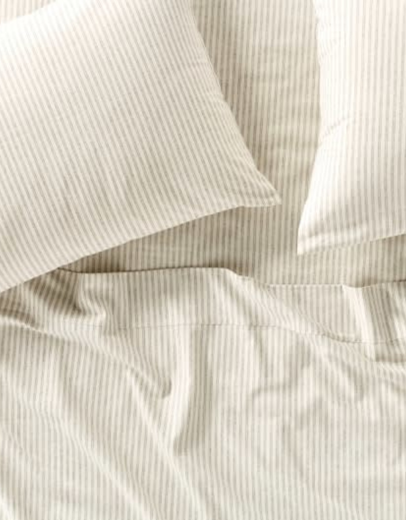 Cloud Brushed Flannel Sheet Set Undyed with Charcoal Stripe
