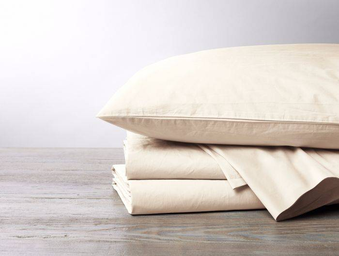 220 Percale Sheet Set-Natural, Queen