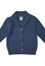 Tiny Twig Knit Boys Cardigan Sweater- Sapphire