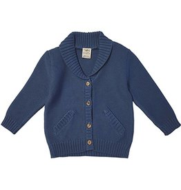 Tiny Twig Knit Boys Cardigan Sweater- Sapphire