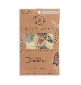 Bee's Wrap Explorer Pack- 2 Medium, 1 Sandwich Wrap- Monarch Print