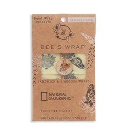 Beeswrap Explorer Pack- 2 Medium, 1 Sandwich Wrap- Monarch Print