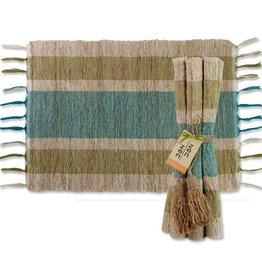 Vetiver Table Linens- Olive & Teal Stripes