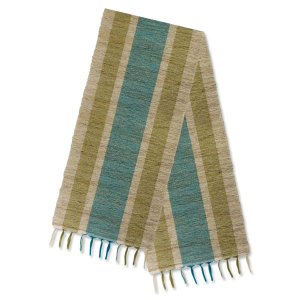 Vetiver Table Linens- Olive & Teal Stripes
