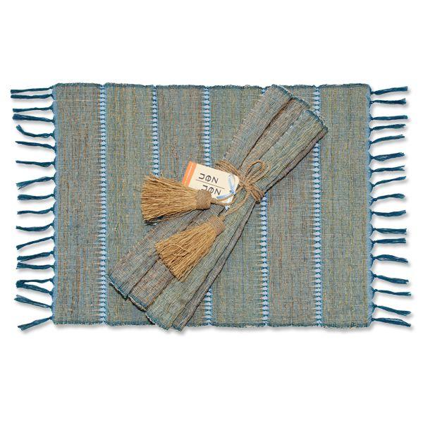 Vetiver Table Linens- Indigo Stripe