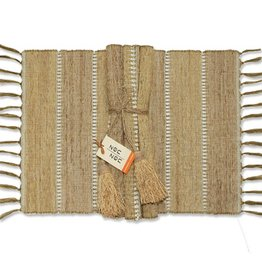 Vetiver Table Linens- Beige Stripe