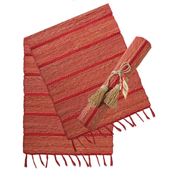 Vetiver Table Linens- Red Persimmon Stripe