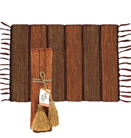 Vetiver Runner or Placemat Set- Brick Stripe