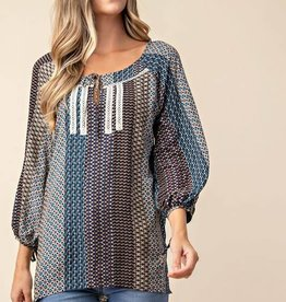 Fleurish Home Boho Print Top 3/4 Sleeve