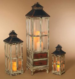 Fleurish Home Med Antique Wood & Metal Lantern