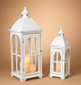 Fleurish Home Sm White Wooden Lantern
