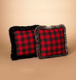 Fleurish Home Buffalo Plaid Fabric Holiday Pillow w Faux Fur (2 color choices)