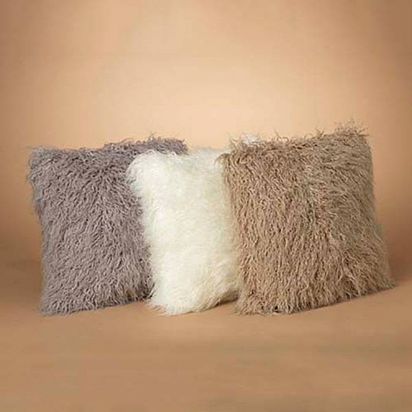 Fleurish Home Faux Curly Fur Pillow (choice of 3 colors)
