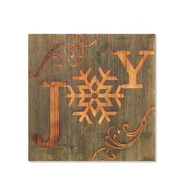 """Fleurish Home Wood Carved Holiday JOY Sign 12"""" Square"""