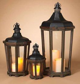 Fleurish Home Sm Waterbury Wood & Metal Lantern