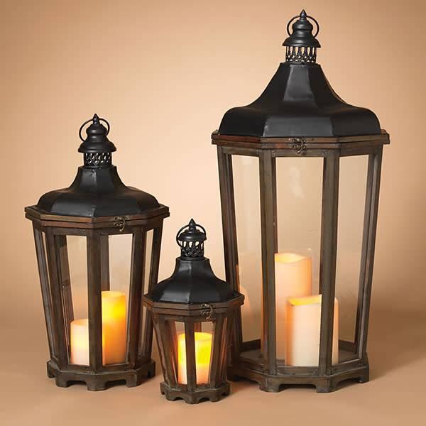 Fleurish Home Lg Waterbury Wood & Metal Lantern