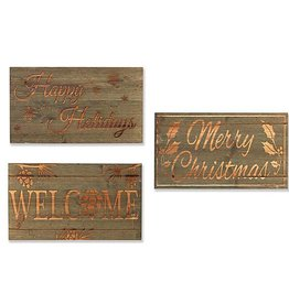 """Fleurish Home Wood Carved Holiday Sign 16""""L (choice of 3 styles)"""