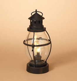 Fleurish Home B/O Lighted Metal & Rounded Glass Lantern Lamp