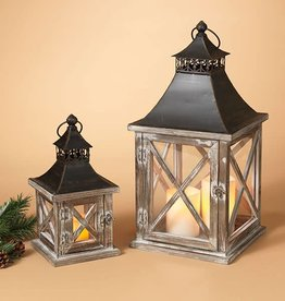 Fleurish Home Sm Square Wood & Metal Lantern