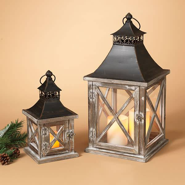 Fleurish Home Sm Square Wood & Metal Lantern