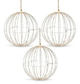 Fleurish Home Silver Metal Wire Lighted Hanging Ball Decor (price for one, 3 shown)