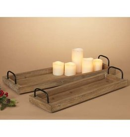 Fleurish Home Lg Narrow Wood Tray w Metal Handles