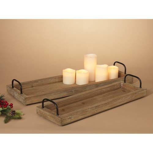 Fleurish Home Lg Narrow Wood Tray w Metal Handles