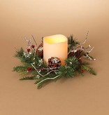 """Fleurish Home Holiday Frosted Pine Mini-Wreath Candle Ring 16"""""""