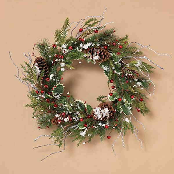 """Fleurish Home Holiday Frosted Pine Wreath with Berries & Pinecones 24"""""""