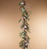 Fleurish Home Holiday Frosted Pine Garland with Berries & Pinecones