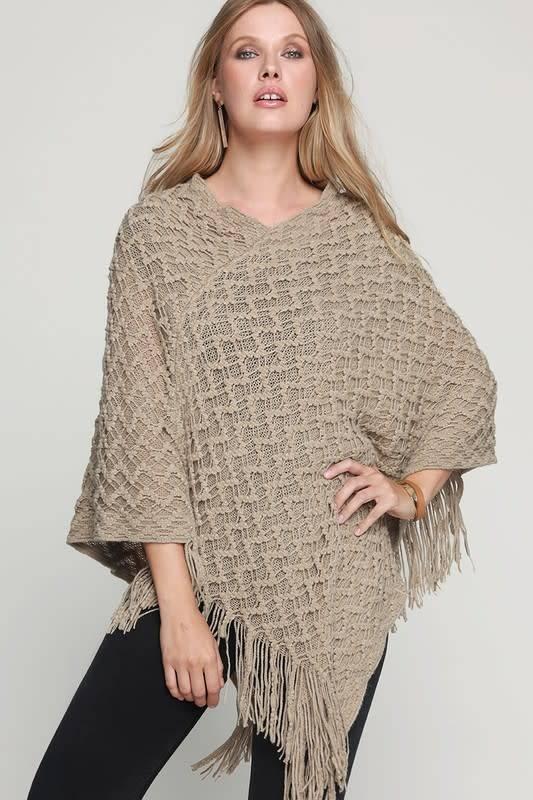 Fleurish Home Knit Crochet Poncho w Fringe
