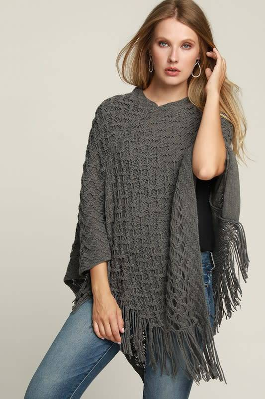 Fleurish Home Knit Crochet Poncho w Fringe