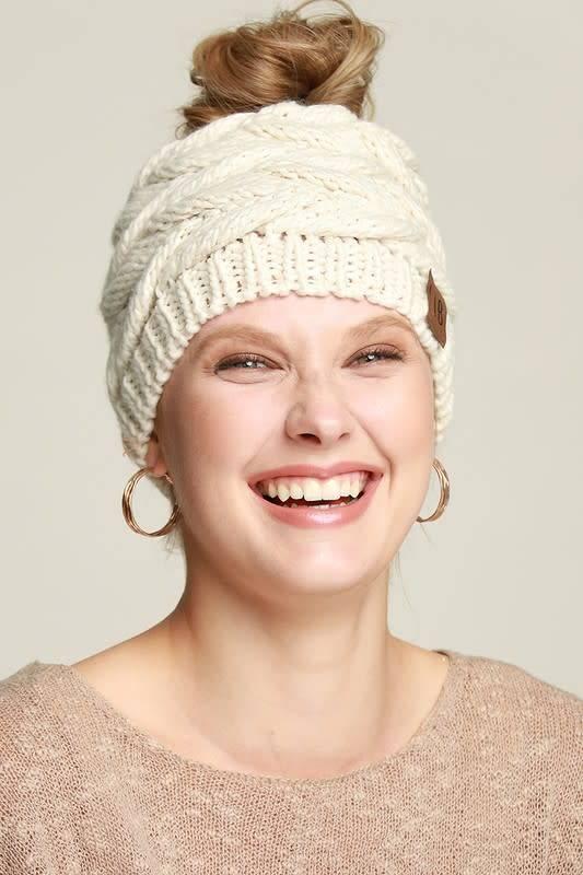 Messy Bun Knit Hat