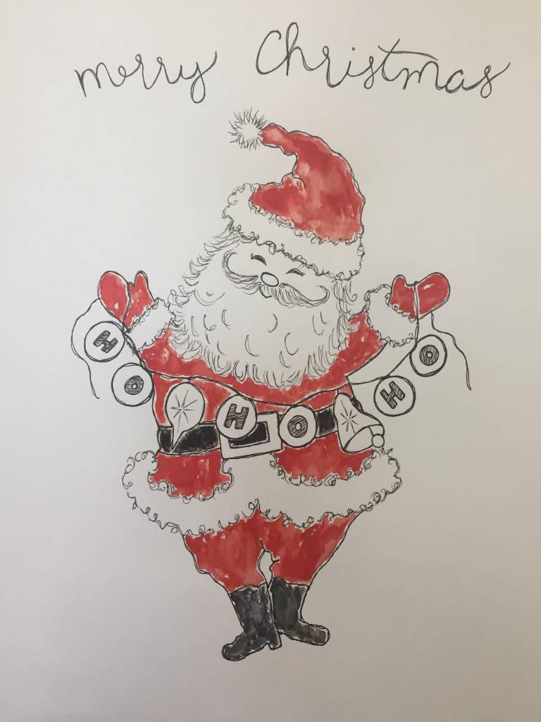 Fleurish Home Santa Holiday Tee 2018