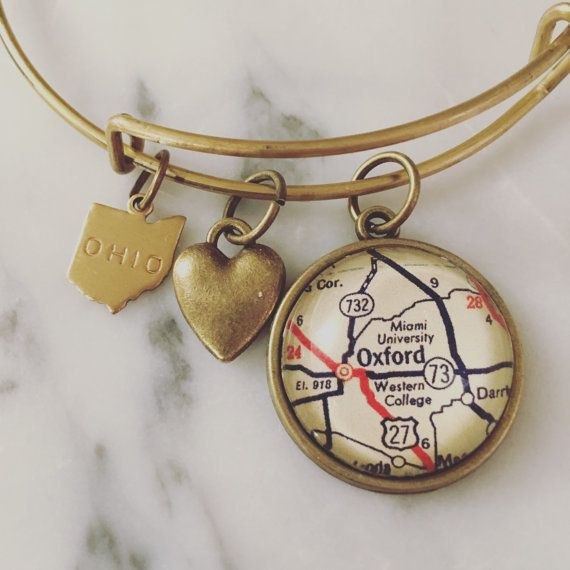Fleurish Home Map Charm Bracelet -Brass