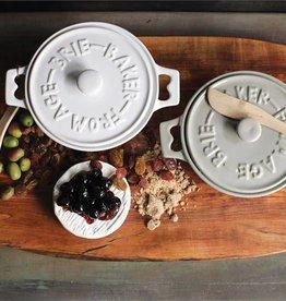 Fleurish Home Brie Baker w Wood Spreader (white or gray)