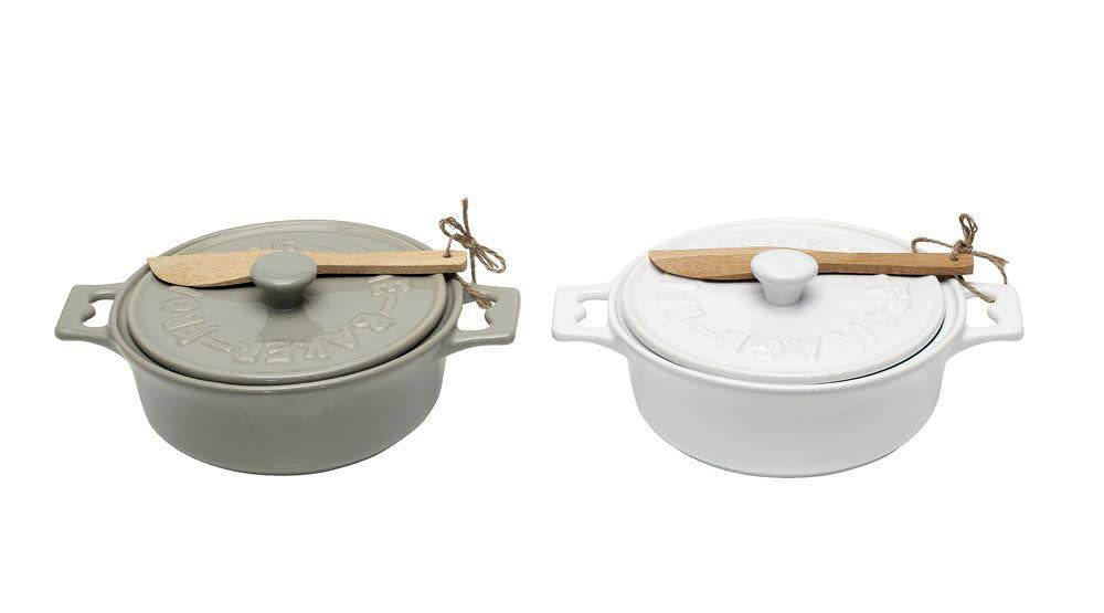 Fleurish Home Brie Baker w Wood Spreader (white or gray)