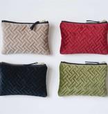 Sm Velvet Zip Pouch (choice of 4 Colors) 6.75x5 *last chance