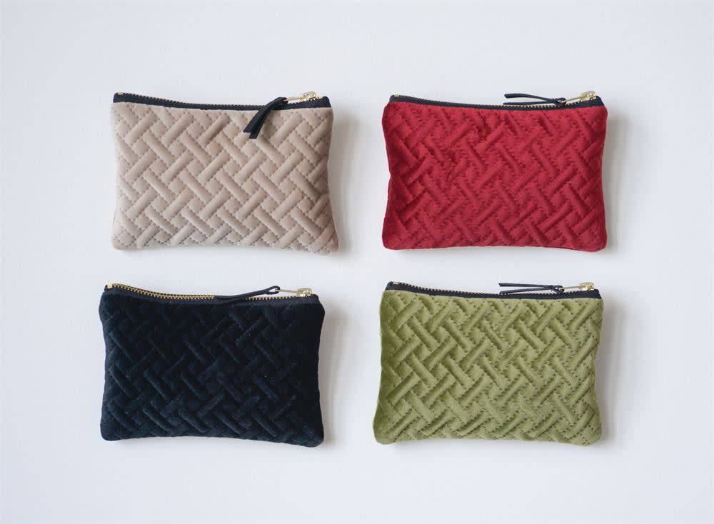 Sm Velvet Zip Pouch (choice of 4 Colors) 6.75x5