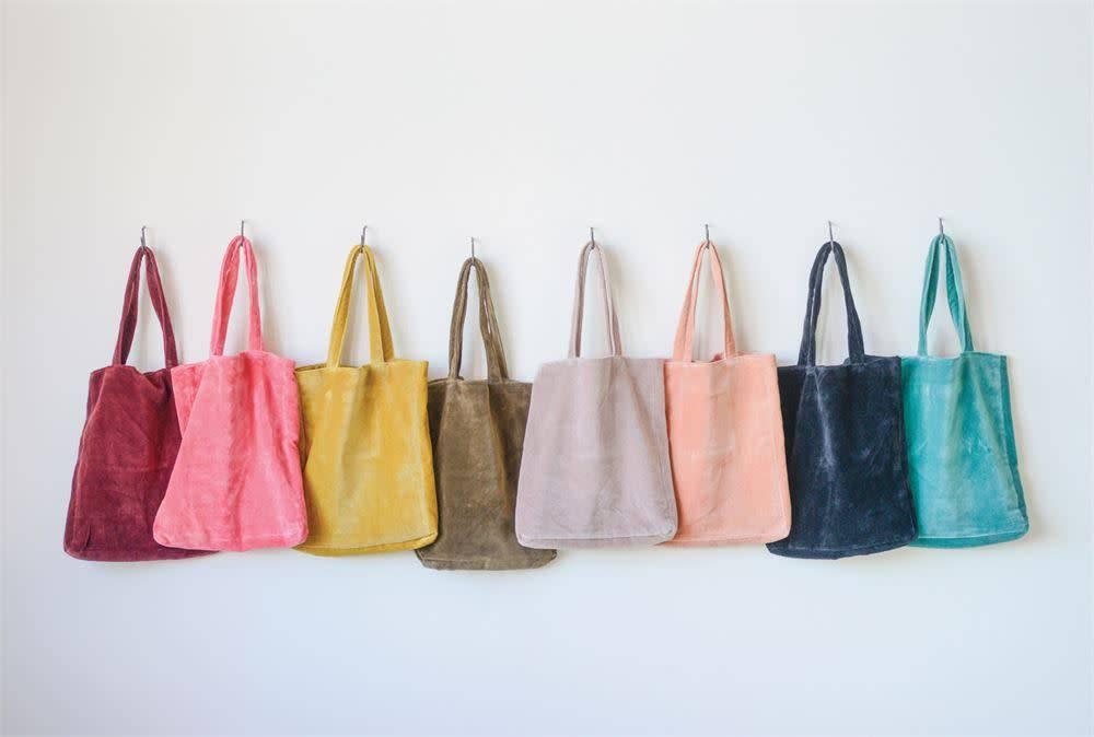 Cotton Velvet Tote Bag (choice of 8 Colors)
