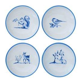 Blue & White Stoneware Dish w Animal (choice of 4 Styles)