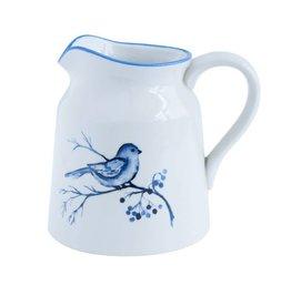 Blue & White Stoneware Creamer w Bird On Branch