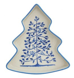Blue & White Stoneware Tree Dish